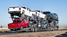 Car Hauler with a full load of vehicles
