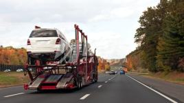 Vehicles being shipped on a car hauler