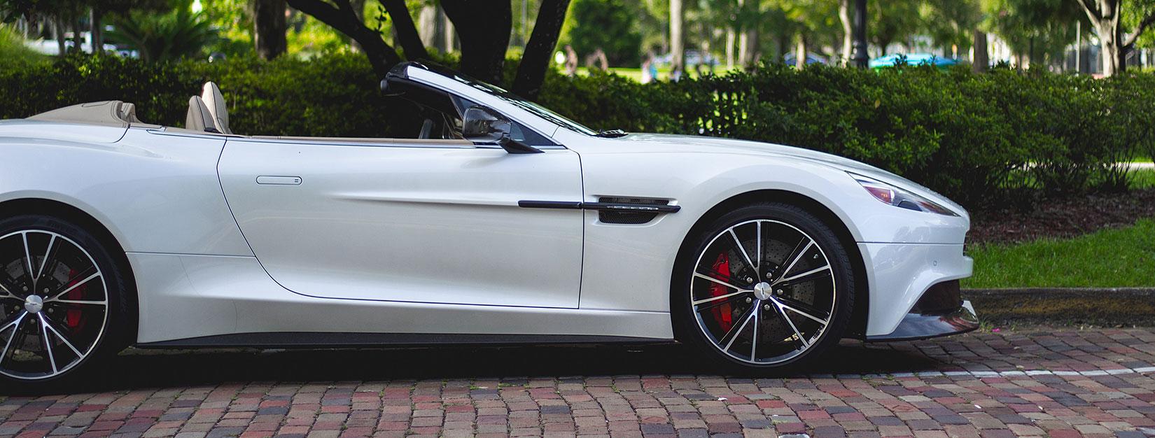 Jaguar convertible with low long front bumper