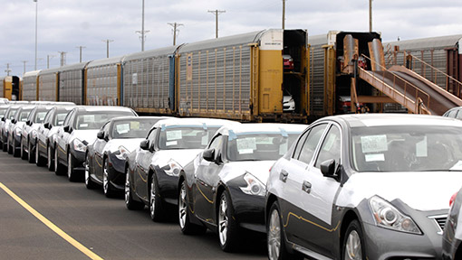 Lineup of cars awaiting rail transport