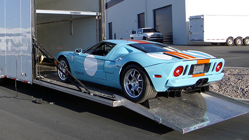 Ford GT on long low-angle ramp